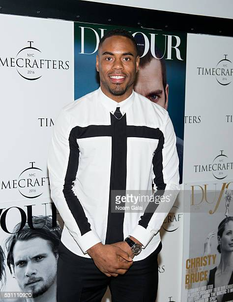 Football running back for the New York Giants Rashad Jennings attends Timecrafters opening night at Park Avenue Armory on May 12 2016 in New York City