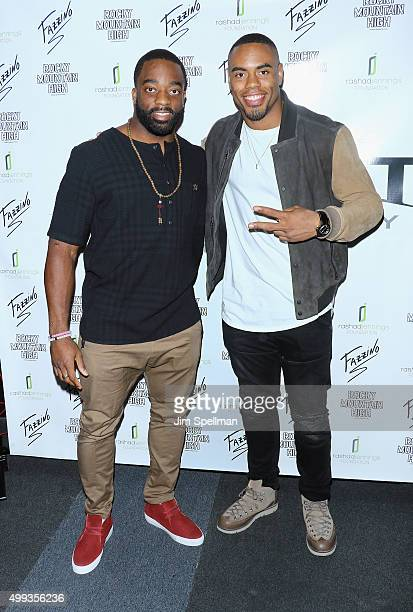 Football running backs Andre Williams and Rashad Jennings attend the 2015 Giant Night of Comedy at Gotham Comedy Club on November 30 2015 in New York...