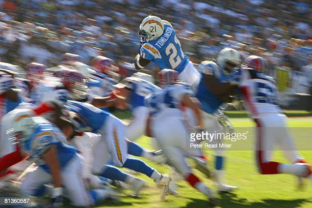 Football San Diego Chargers LaDainian Tomlinson in action diving and scoring touchdown vs Buffalo Bills Blur San Diego CA