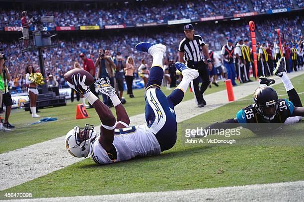 San Diego Chargers Malcom Floyd in action scoring touchdown vs Jacksonville Jaguars Demetrius McCray at Qualcomm Stadium San Diego CA CREDIT John W...