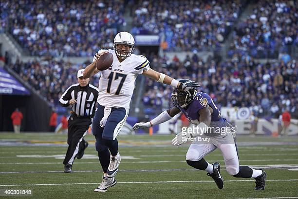 San Diego Chargers QB Philip Rivers in action under pressure vs Baltimore Ravens CJ Mosley at MT Bank Stadium Baltimore MD CREDIT Simon Bruty