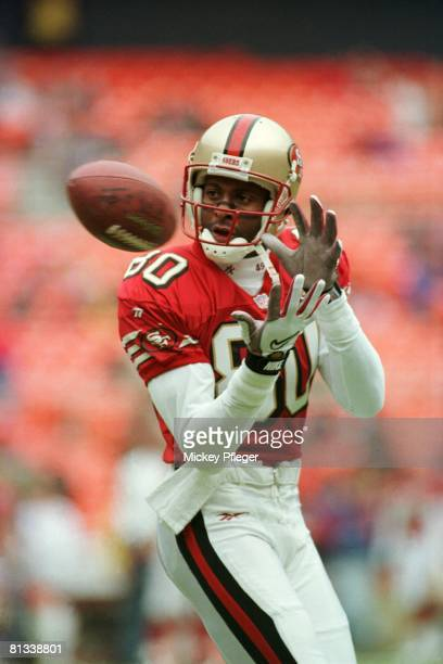 Football San Francisco 49ers Jerry Rice in action making pass vs Washington Redskins Washington DC