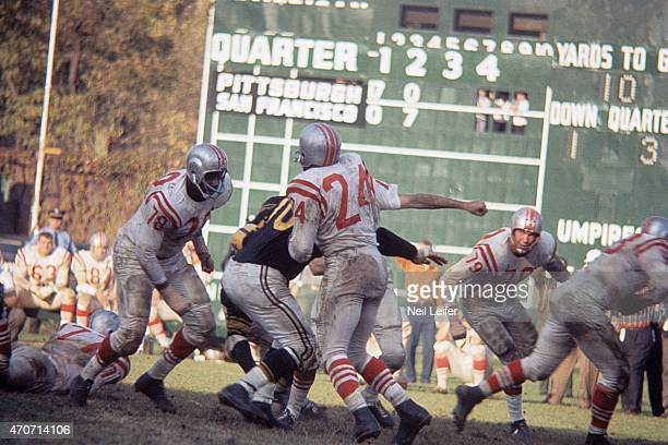 San Francisco 49ers John Thomas JD Smith and Bob St Clair in action blocking vs Pittsburgh Steelers at Forbes Field Pittsburgh PA CREDIT Neil Leifer