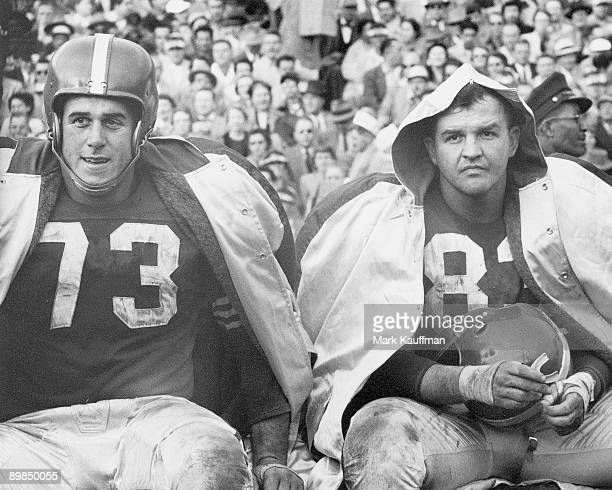 San Francisco 49ers Leo Nomellini and Clay Matthews Sr on bench during game vs Los Angeles Rams San Francisco CA 11/7/1954 CREDIT Mark Kauffman