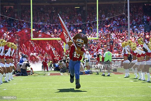 San Francisco 49ers mascot Sourdough Sam taking field field before game vs Green Bay Packers at Candlestick Park San Francisco CA CREDIT Robert Beck