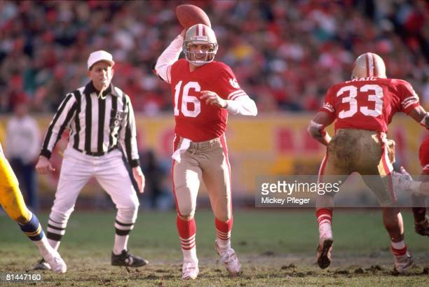 Football San Francisco 49ers QB Joe Montana in action making pass vs Los Angeles Rams San Francisco CA