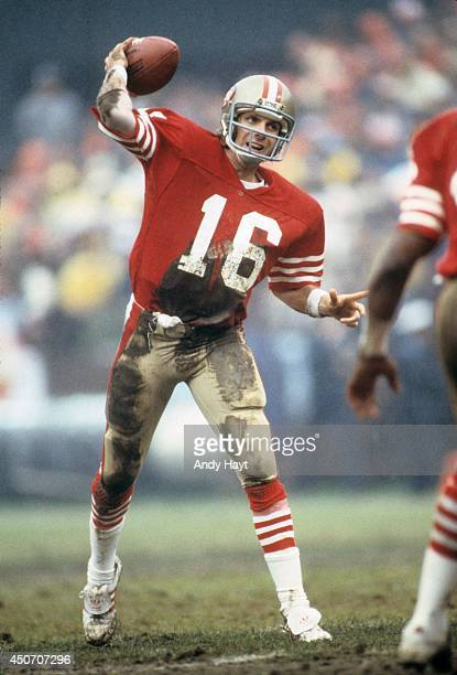 San Francisco 49ers QB Joe Montana in action pass vs Houston Oilers at Candlestick Park Cover San Francisco CA CREDIT Andy Hayt