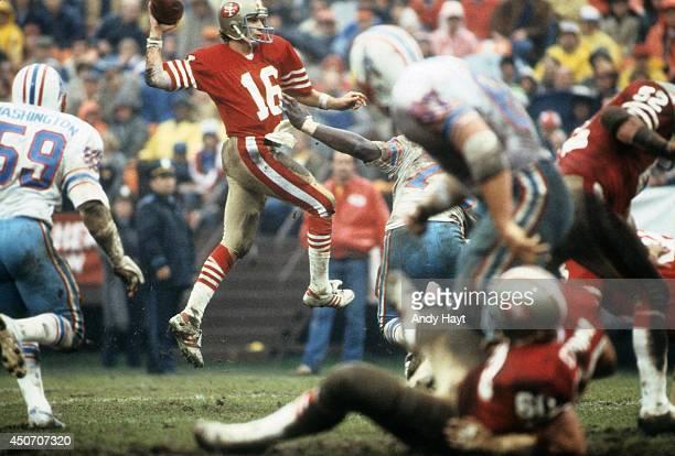 San Francisco 49ers QB Joe Montana in action pass vs Houston Oilers at Candlestick Park San Francisco CA CREDIT Andy Hayt