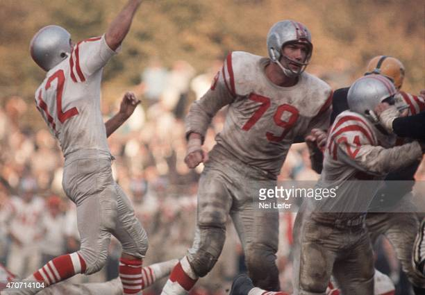 San Francisco 49ers QB John Brodie in action, making pass behind blocking of Bob St. Clair vs Pittsburgh Steelers at Forbes Field. Pittsburgh, PA...