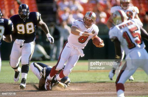 San Francisco 49ers QB Steve Young in action vs San Diego Chargers during spring training at Jack Murphy Stadium San Diego CA CREDIT Brad Mangin