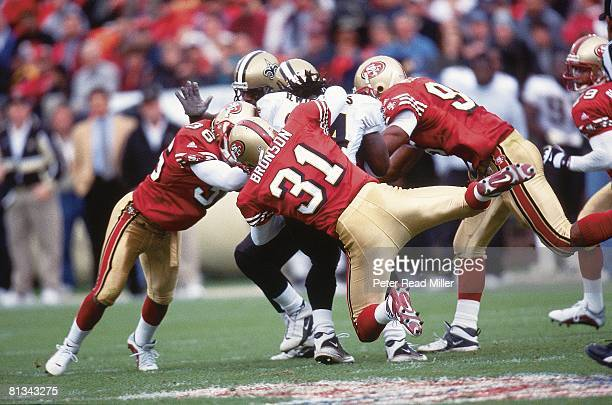 Football San Francisco 49ers Zack Bronson in action vs New Orleans Saints Ricky Williams San Francisco CA