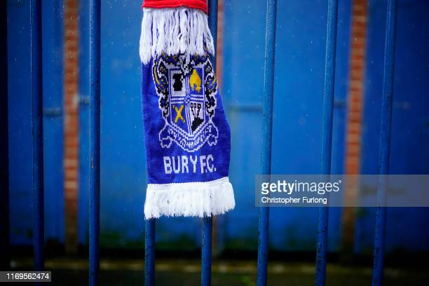 Football scarves adorn the fence of Gigg Lane stadium the home of struggling football club Bury FC on August 22 2019 in Bury England Bury Football...