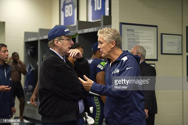 Seattle Seahawks coach Pete Carroll with owner Paul Allen in locker room before game vs San Francisco 49ers at CenturyLink Field Seattle WA CREDIT...