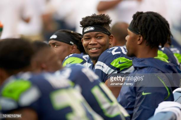 Seattle Seahawks Rashaad Penny on sidelines during preseason game vs Indianapolis Colts at CenturyLink Field Seattle WA CREDIT Jonathan Ferrey