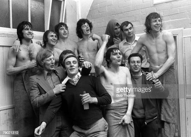 Football Sheffield England FA Cup Semi Final 7th April 1973 Sunderland 2 v Arsenal 1 Sunderland players celebrate in the dressing room after the...