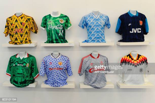 Football shirts from Arsenal from 1991 from a Japanese club a Netherlands shirt an Arsenal shirt a 1998 Mexico shirt a 1992 Manchester United away...