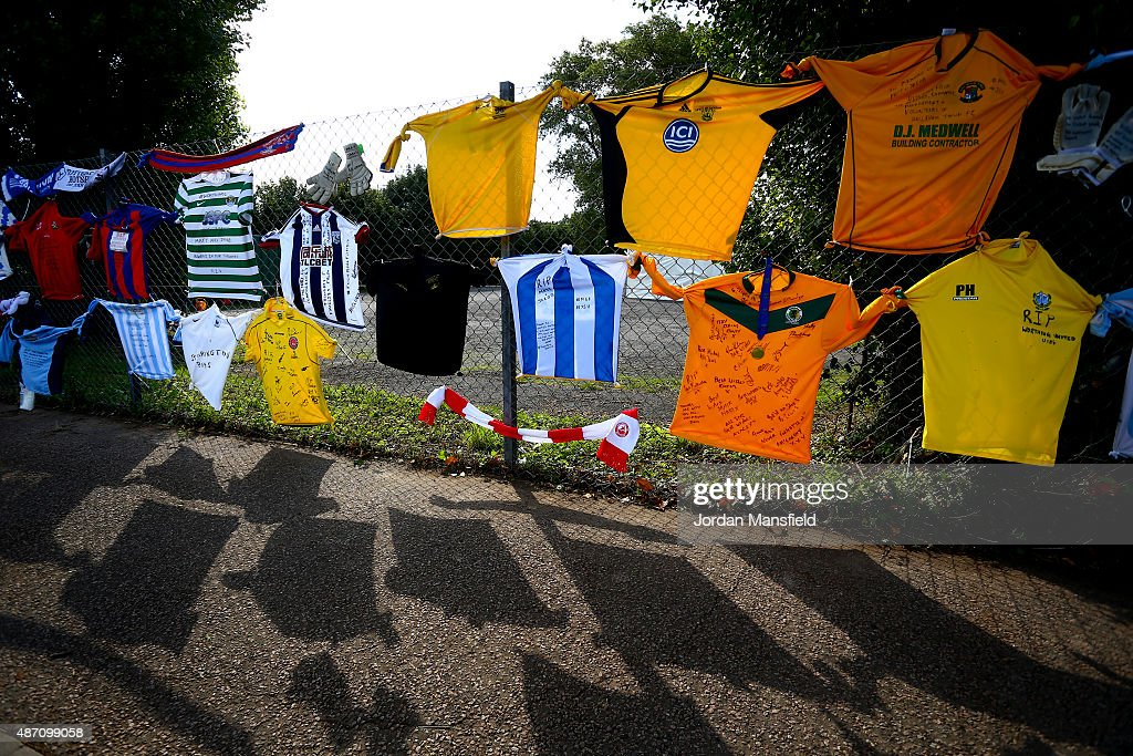 Football shirts hang on a fence outside the ground in memory of Matthew Grimstone and Jacob Schilt, two Worthing United players who lost their lives in the Shoreham Airshow, ahead of the FA Vase match between Worthing United FC and East Preston FC at Worthing United Football Club on September 6, 2015 in Worthing, West Sussex. Worthing United are playing their first game since their two players, Matthew Grimstone and Jocob Schilt, were killed in the Shoreham air crash on August 22.