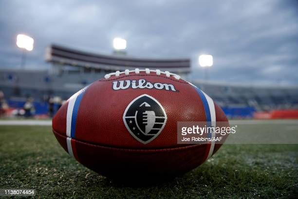 A football sits on the field before the Memphis Express take on the Birmingham Iron in their Alliance of American Football game at Liberty Bowl...
