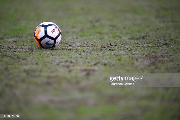 A football sits on the pitch prior to The Emirates FA Cup Third Round match between Coventry City and Stoke City at Ricoh Arena on January 6 2018 in...