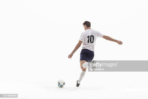 football, soccer in white studio - football player photos et images de collection