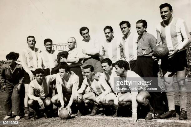 Football South America A group picture of Argentina's World Cup 1958 squad for Sweden pictured prior to a warm up match against Bolivia with players...