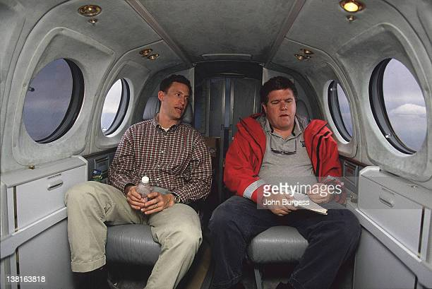 Sports Illustrated senior writer Peter King during interview with agent Leigh Steinberg aboard private jet plane CREDIT John Burgess
