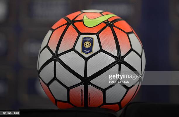 A football stands on the podium ahead of a Manchester City press conference during the International Champions Cup football tournament in Melbourne...