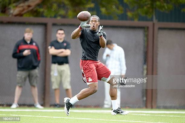 Stanford Pro Day NFL prospect and former Stanford University player Chris Owusu in action during workout at Elliott Practice Fields Stanford CA...