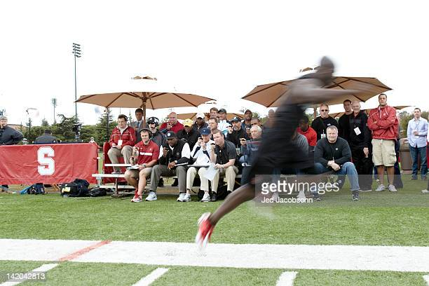 Stanford Pro Day View of NFL and team personnel looking on during workout at Elliott Practice Fields Stanford CA CREDIT Jed Jacobsohn