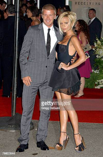 """Football star David Beckham and singer Victoria Beckham arrive at the """"Beckham Welcome To LA Party"""" at the Museum of Contemporary Art on July 22,..."""