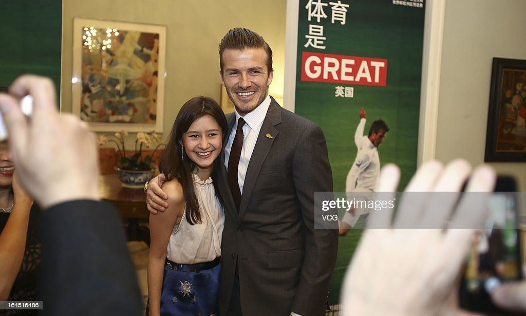 Football star David Beckham visits the British Embassy on March 24, 2013 in Beijing, China.