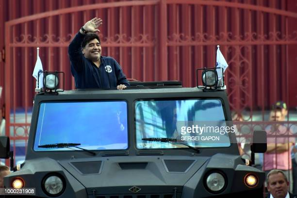 Football star Diego Maradona arrives at the stadium in Brest on July 16 2018 The 57yearold Argentinian visits Belarus for the first time after...