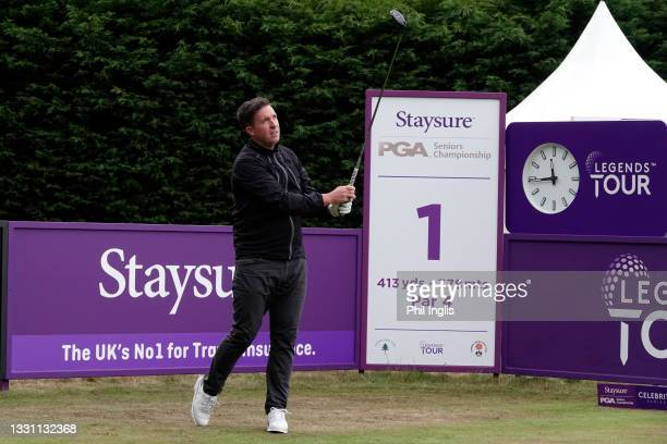 Football star Robbie Fowler in action during the ProAm ahead of the Staysure PGA Seniors Championship at Formby Golf Club on July 28, 2021 in Formby,...