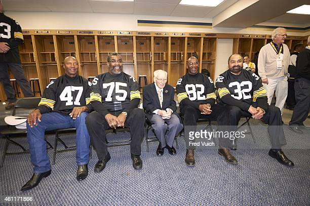 Steelers' Super Bowl Reunion Portrait of Pittsburgh Steelers 1974 Championship team Mel Blount Joe Greene owner Dan Rooney John Stallworth Franco...