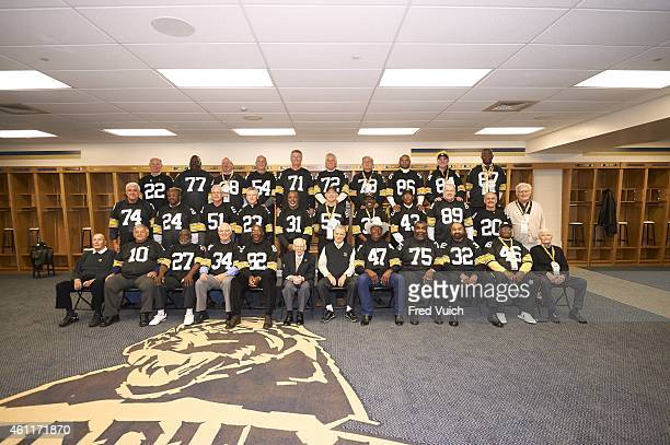 Steelers' Super Bowl Reunion Portrait of Pittsburgh Steelers 1974 Championship team in locker room at Heinz Field 40th Anniversary of Super Bowl IX...