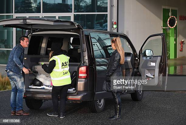 Football stewards makes security checks on cars entering the stadium before the start of the Bundesliga match between VfL Wolfsburg and Werder Bremen...