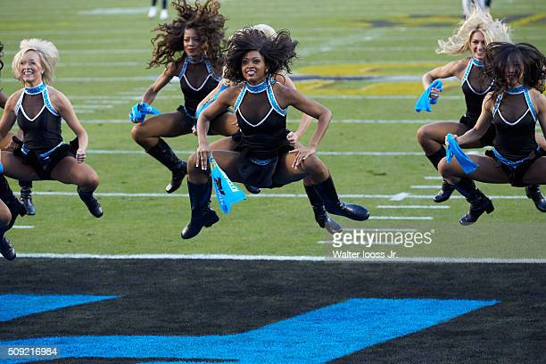 Super Bowl 50 Carolina Panthers cheerleaders performing during game vs Denver Broncos at Levi's Stadium Santa Clara CA CREDIT Walter Iooss Jr