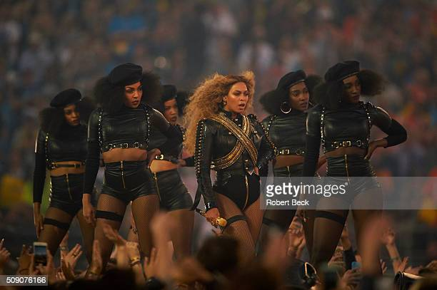Super Bowl 50 Celebrity singer Beyonce performing during halftime show of Denver Broncos vs Carolina Panthers game at Levi's Stadium Santa Clara CA...