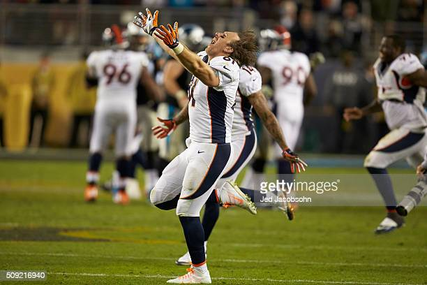 Super Bowl 50 Denver Broncos Owen Daniels victorious on field after winning game vs Carolina Panthers at Levi's Stadium Santa Clara CA CREDIT Jed...