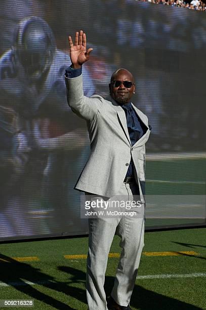 Super Bowl 50 Former Dallas Cowboys Emmitt Smith during pregame ceremonies honoring former Super Bowl MVP winners before Denver Broncos vs Carolina...