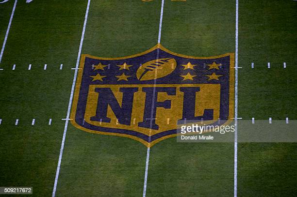 Super Bowl 50 View of NFL logo on field before Carolina Panthers vs Denver Broncos game at Levi's Stadium Santa Clara CA CREDIT Donald Miralle