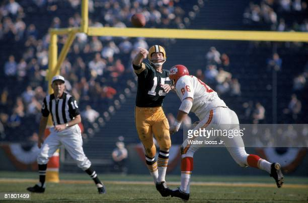 Football Super Bowl I Green Bay Packers QB Bart Starr in action vs Kansas City Chiefs Los Angeles CA 1/15/1967