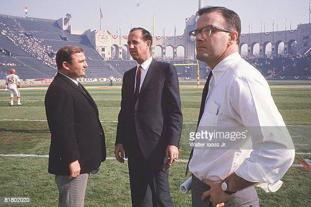 Football Super Bowl I Kansas City Chiefs coach Hank Stram NFL commissioner Pete Rozelle and Chiefs owner Lamar Hunt on field before game vs Green Bay...