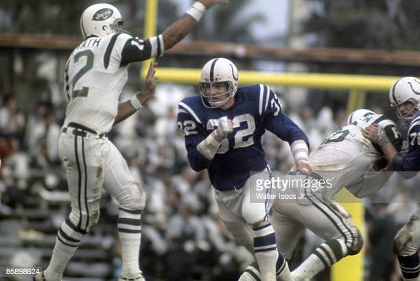 Super Bowl III Baltimore Colts Mike Curtis in action defense vs New York Jets QB Joe Namath Miami FL 1/12/1969 CREDIT Walter Iooss Jr