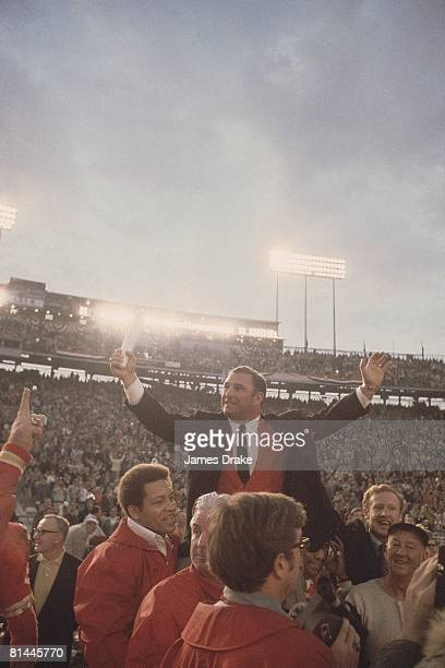Football Super Bowl IV Kansas City Chiefs coach Hank Stram victorious after game vs Minnesota Vikings New Orleans LA 1/11/1970