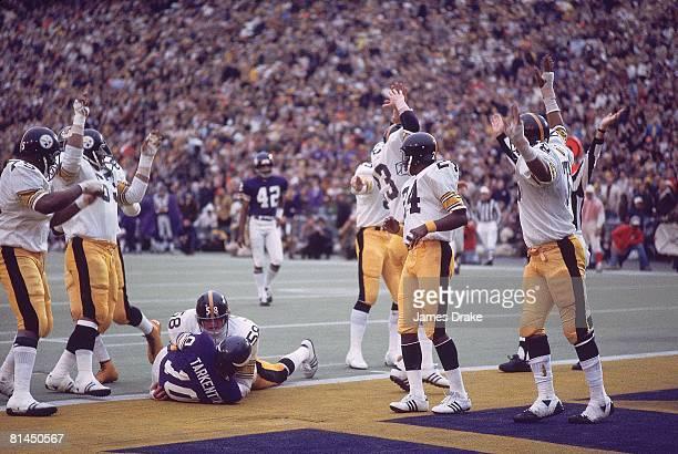 Football Super Bowl IX Pittsburgh Steelers Jack Lambert in action making sack vs Minnesota Vikings QB Fran Tarkenton for a safety Team victorious New...