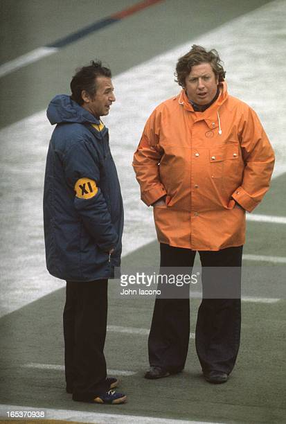Super Bowl IX Sports Illustrated photographer Neil Leifer on field before Pittsburgh Steelers vs Minnesota Vikings game at Tulane Stadium New Orleans...