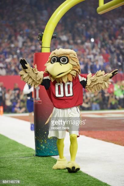 Super Bowl LI Atlanta Falcons mascot Freddie Falcon on field during game vs New England Patriots at NRG Stadium Houston TX CREDIT Robert Beck