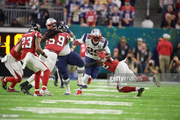 Super Bowl LI New England Patriots LeGarrette Blount in action rushing vs Atlanta Falcons Keanu Neal at NRG Stadium Houston TX CREDIT Robert Beck