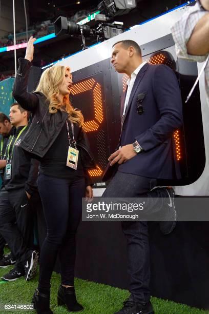 Super Bowl LI NFL Network analyst Cynthia Frelund with Alex Rodrigurez before New England Patriots vs Atlanta Falcons game at NRG Stadium Houston TX...